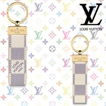 Louis Vuitton DAMIER AZUR Other Check Patterns Blended Fabrics Keychains & Bag Charms