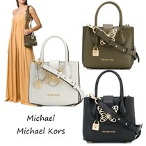 Michael Kors MERCER Casual Style 2WAY Plain Leather Totes