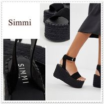 SIMMI Open Toe Platform Casual Style Plain Sandals Sandal