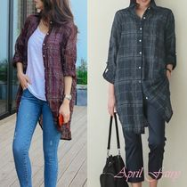 Other Check Patterns Casual Style Long Sleeves Long