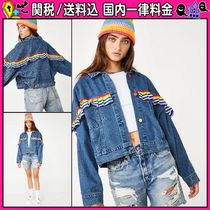 DOLLS KILL Short Stripes Casual Style Denim Plain Oversized Jackets