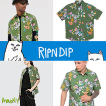 RIPNDIP Button-down Unisex Street Style Short Sleeves Shirts
