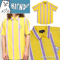 RIPNDIP Button-down Stripes Unisex Street Style Short Sleeves Shirts