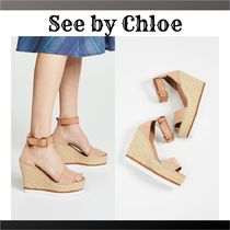 See by Chloe Suede Plain Heeled Sandals