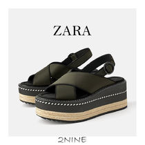 ZARA Open Toe Platform Plain Platform & Wedge Sandals