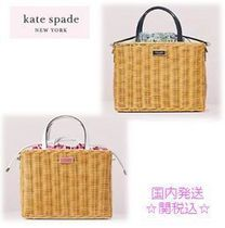 kate spade new york SAM Flower Patterns 2WAY Purses Straw Bags