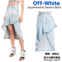 Off-White Casual Style Denim Street Style Medium Midi Skirts