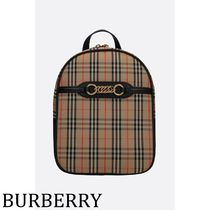 Burberry Other Check Patterns Casual Style Calfskin Chain Backpacks