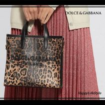 Dolce & Gabbana Leopard Patterns Casual Style Calfskin Totes