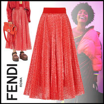 FENDI Monogram Casual Style Nylon Pleated Skirts Street Style Long