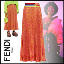 FENDI Monogram Casual Style Silk Pleated Skirts Street Style Long
