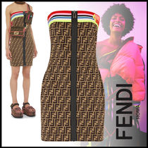 FENDI Short Monogram Casual Style Tight Sleeveless Street Style