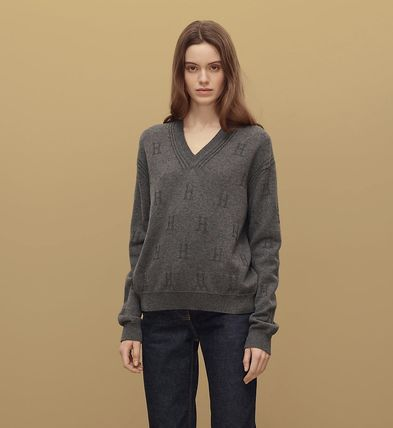 2021a6be97a8 ... HERMES Sweaters Wool V-Neck Long Sleeves Plain Medium Handmade Elegant  Style ...