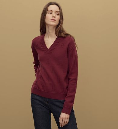 Wool V-Neck Long Sleeves Plain Medium Handmade Elegant Style