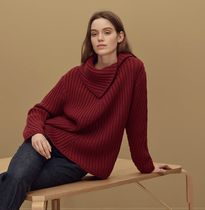 HERMES Cable Knit Unisex Wool Rib Long Sleeves Plain Medium