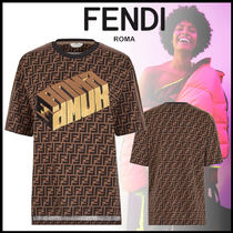 FENDI Crew Neck Monogram Street Style Cotton Medium Short Sleeves
