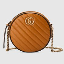 GUCCI Chain Plain Leather Party Style Shoulder Bags