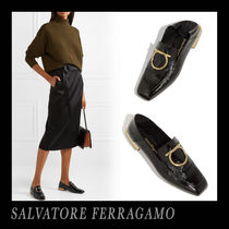 Salvatore Ferragamo Square Toe Leather Office Style Loafer Pumps & Mules