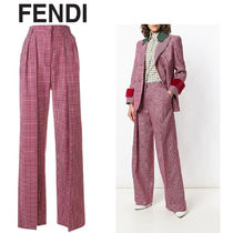 FENDI Other Check Patterns Casual Style Wool Long Pants