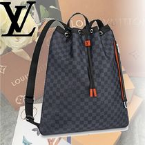 Louis Vuitton DAMIER COBALT Leather Backpacks