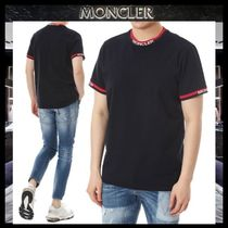 MONCLER Crew Neck Blended Fabrics Street Style Plain Cotton