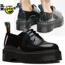 Dr Martens Platform Casual Style Unisex Street Style Plain Leather