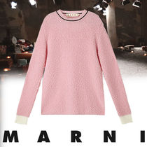 MARNI Crew Neck Cable Knit Casual Style Wool Long Sleeves Plain