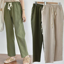 Casual Style Linen Plain Long Wide Leg Pants