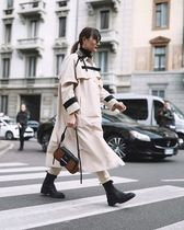 PRADA Studded Street Style Plain Medium Elegant Style Trench Coats