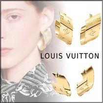 Louis Vuitton MONOGRAM 19-20AW HOOP TUBE NANOGRAM  gold one size earrings