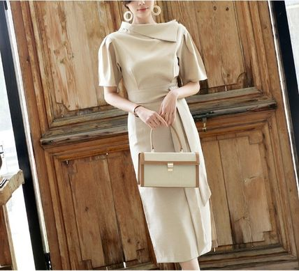 Casual Style Tight Linen Puffed Sleeves Plain Long Dresses