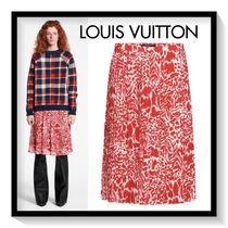 Louis Vuitton Silk Pleated Skirts Bi-color Midi Elegant Style Skirts