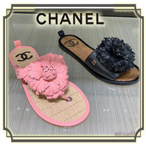 CHANEL Flower Patterns Open Toe Leather Elegant Style Sandals