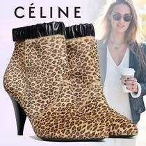 CELINE Leopard Patterns Blended Fabrics Leather