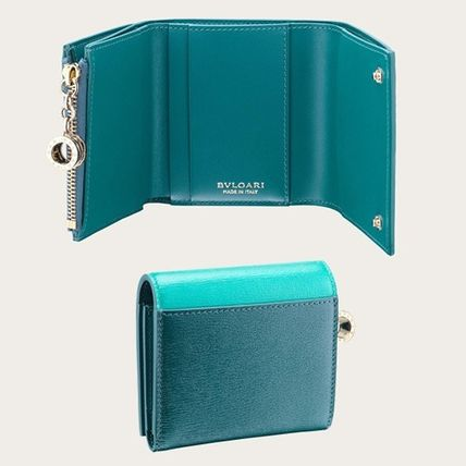 Unisex Plain Leather Logo Folding Wallets