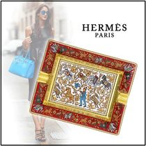 HERMES 2019-20AW CHASSE EN INDE ASHTRAY red multicolor trays
