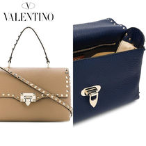 VALENTINO Calfskin Studded 2WAY Plain Elegant Style Handbags