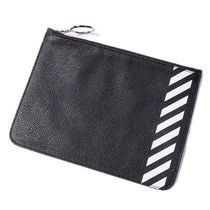 Off-White Stripes Unisex Street Style Leather Clutches