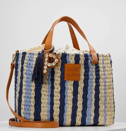 Stripes Canvas Blended Fabrics 2WAY Fringes Straw Bags