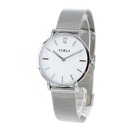 FURLA Casual Style Round Quartz Watches Stainless Office Style