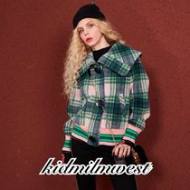 ELF SACK Short Gingham Casual Style Wool Street Style Coats
