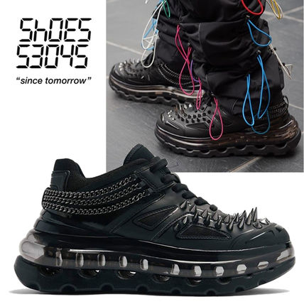 Plain Toe Rubber Sole Lace-up Casual Style Unisex Studded