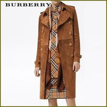 Burberry Suede Plain Long Elegant Style Trench Coats