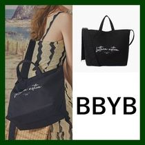 BBYB Casual Style Unisex Canvas Street Style 2WAY Plain Totes