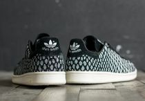 adidas STAN SMITH Plain Toe Rubber Sole Casual Style Unisex Blended Fabrics