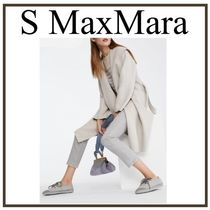S Max Mara Wool Plain Medium Elegant Style Wrap Coats
