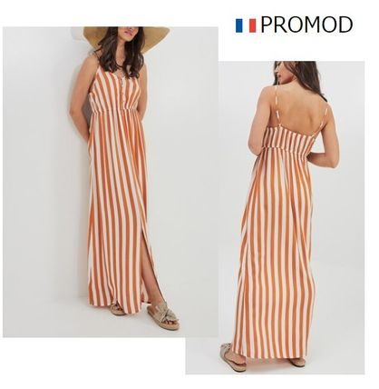 Stripes Sleeveless Long Dresses