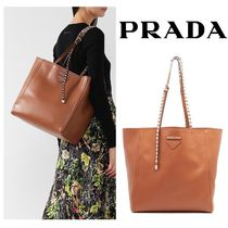 PRADA Studded A4 Plain Leather Office Style Totes
