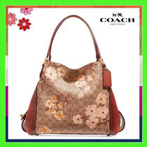 Coach Prairie Flower Patterns Monogram Leather Elegant Style Handbags