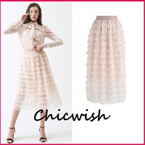 Chicwish Flared Skirts Medium Party Style With Jewels Midi Skirts